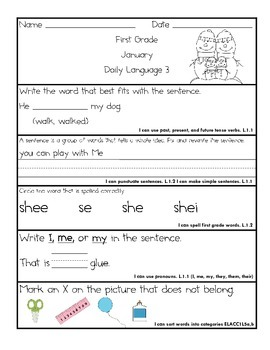 Common Core Daily Language for First Grade January