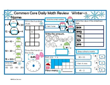 Daily Math Review-2nd Grade Winter-Common Core Aligned