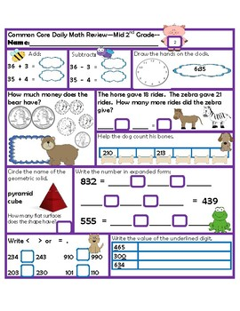 Daily Math Review Mid 2nd Grade-Common Core Aligned