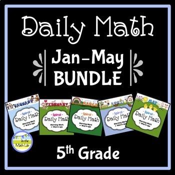 Morning Work Daily Math for 5th Grade: Jan - May Bundle