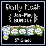 Morning Work Spiral Daily Math 5th Grade: Jan - May BUNDLE