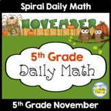 Morning Work Spiral Daily Math | 5th Grade November