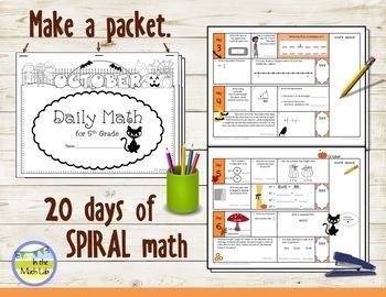 Morning Work Spiral Daily Math   5th Grade October