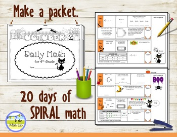 Morning Work Spiral Daily Math | 4th Grade October