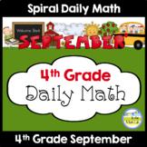 Morning Work Spiral Daily Math | 4th Grade September