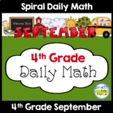4th Grade Spiral Daily Math SEPTEMBER Distance Learning Packets