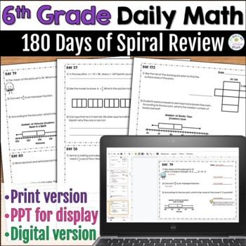 6th Grade Math: 180 Days of Warm Ups - Common Core