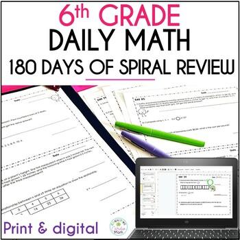 6th Grade Math Warm Ups: 180 Days of Spiral Review