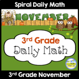 3rd Grade Spiral Daily Math NOVEMBER Distance Learning Packets
