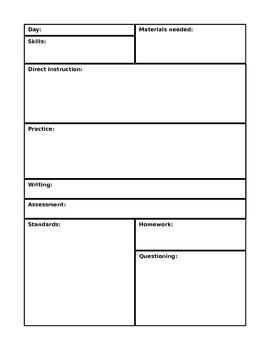 Common Core Daily Plan Template