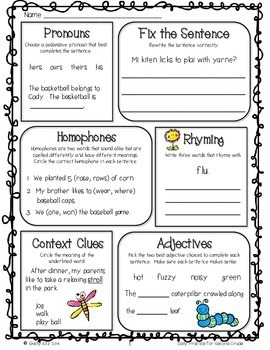 Morning Work Freebie for 2nd grade