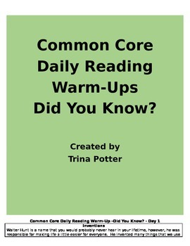 Common Core Daily Reading Warm-Ups Did You Know