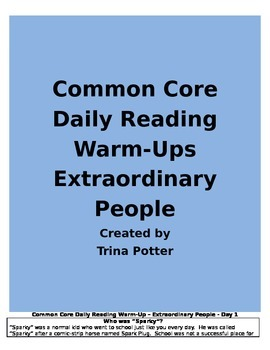 Common Core Daily Reading Warm-Ups Extraordinary People