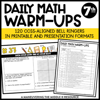7th Grade Math Warm Ups - Common Core