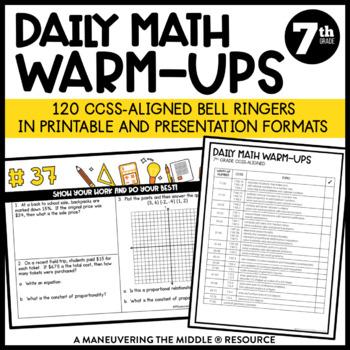 7th Grade Math Warm-Ups (CCSS-Aligned Math Bell Ringers)