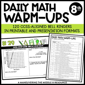 8th Grade Math Warm Ups - Common Core