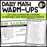 8th Grade Math Warm-Ups (CCSS-Aligned Math Bell Ringers)