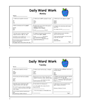 Common Core Daily Word Work- Featuring National Reading Vocabulary Words
