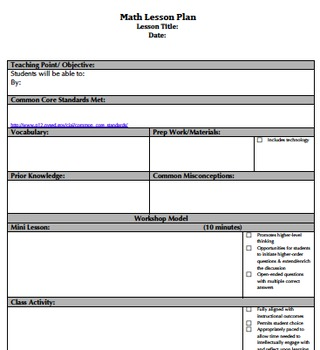 Common Core Danielson Aligned Lesson Plan Templates By Regina Capowski - Common core math lesson plan template