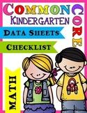Common Core Data Sheets & Checklists - Math (Kindergarten)
