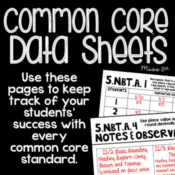 5th Grade Common Core Data Sheets (Teacher Data Binder)