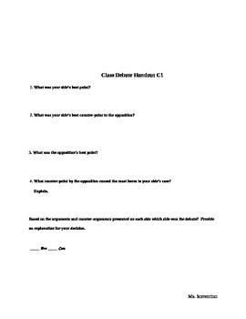 Common Core Classroom Debate Handouts