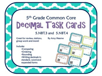 Decimal Place Value Task Cards (With QR Codes-Common Core
