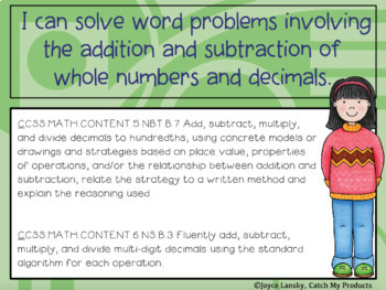 Decimal Word Problems Common Core in Power Point