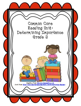 Common Core Determining Importance Reading Graphic Organizers Unit