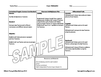 Common core differentiated lesson plan template by bess for Lesson plan template for differentiated instruction