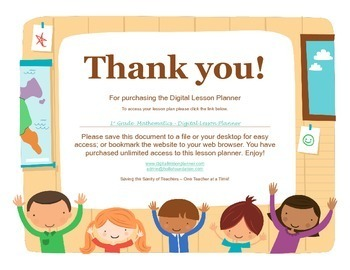 Common Core Digital Lesson Planner - 1st Grade Math