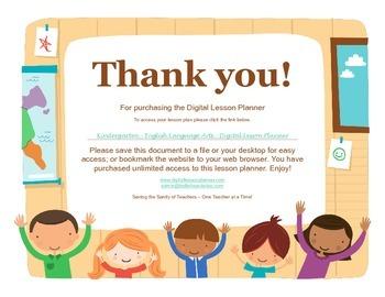 Common Core Digital Lesson Planner - Kindergarten English Language Arts