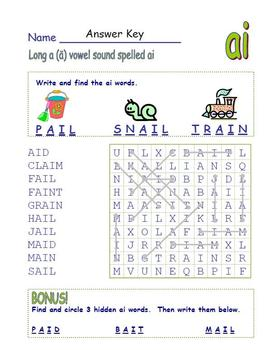 "Common Core - Digraph Long Vowel "" a "" Spelled "" ai ""  DOUBLE Word Search Fun!"