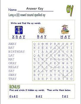 """Common Core - Digraph Long Vowel """"a"""" Spelled """"ay""""  DOUBLE Word Search Fun!"""