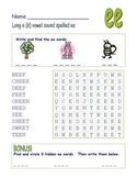 "Common Core - Digraph Long Vowel "" e "" Spelled "" ee "" DOUBLE Word Search Fun!"