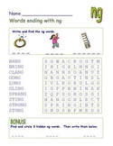 """Common Core - Digraph Words Ending with """"ng""""  DOUBLE Word Search Fun!"""