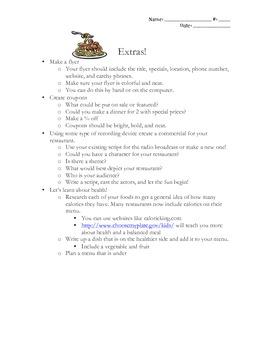 Common Core Dining With Decimals Grade 4-5