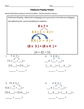 Common Core Distributive Property Introduction and Practice 3rd Grade