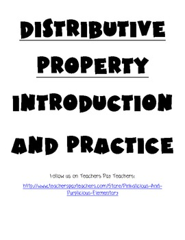 Common Core Distributive Property Introduction and Practic