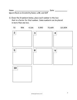 Common Core Dividing Whole Numbers and Decimals with GCF and LCM Quick Checks