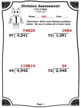 Common Core Division Assessment for 5.NBT.B.6