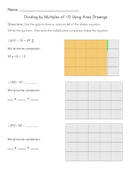 Common Core Division - Dividing by Multiples of 10 Using Area Drawings
