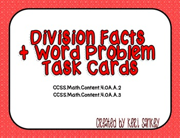 Common Core Division Facts & Word Problem Task Cards