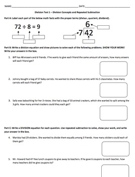 Common Core Division Test Making Groups and Repeated Subtraction