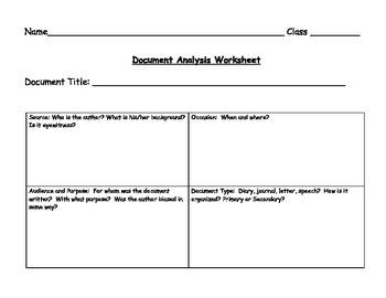 Common Core Document Analysis Sheet