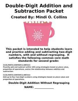 Common Core Double-Digit Addition and Subtraction Winter Math Packet