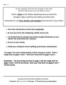 Common Core/PARCC Writing Prompt:  The Stranger