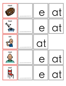 Common Core EAT Word Family activity for Language Arts