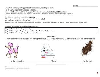 Common Core EDI Kinder RL.K.2 RETELL familiar stories, including key details