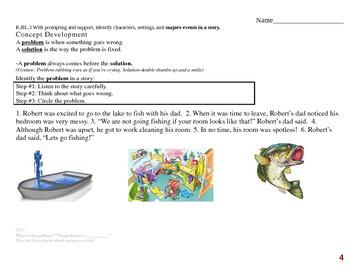 Common Core EDI Kinder RL.K.3 identify characters, settings, & majors events
